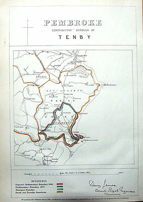 WALES, TENBY,SAUNDERSFOOT, WATERWYNCH,  PEMBROKE Antique Map 1868