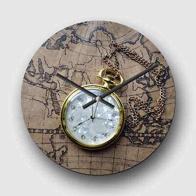 Large 32cm Quartz Wall Clock Vintage Pocket watch and World Map (1)
