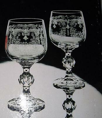 Set of 5 Cascade Fine Crystal,Etched Bohemia Stemware Water Goblets/Wine Glasses