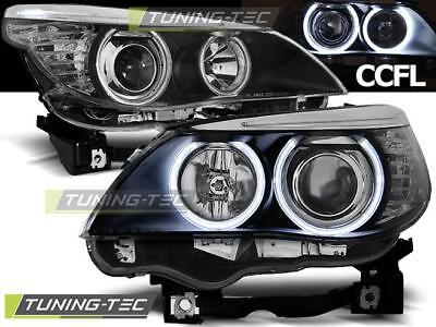 Coppia Fari Anteriori Bmw E60/e61 03-07 Angel Eyes Black