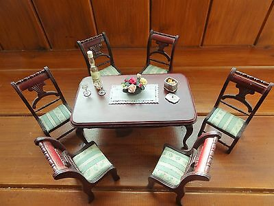1.12 Dolls House high quality large Dining Table and 6 chairs.