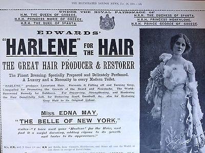"Antique Original1901 Print Ad {B1}~""harlene"" For The Hair, Miss Edna May, London"