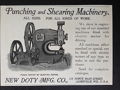 Antique 1902 Machinery Ad (E11)~New Doty Mfg. Co. Janesville, Wis.