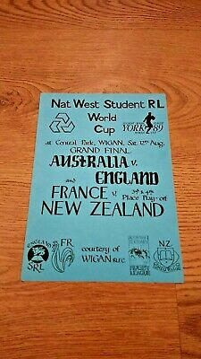 Australia v England 1989 Student World Cup Final Rugby League Programme