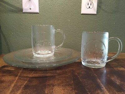 "Coca-Cola 6 Piece Clear Glass Embossed Dinner Plates 10"" (2) Mugs (2) 8"" Plate 2"