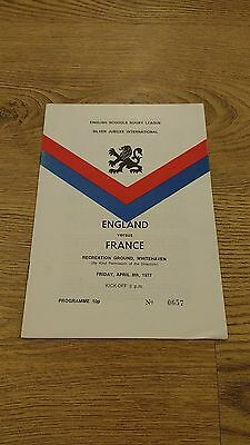 England Schools v France Schools 1977 Rugby League Programme