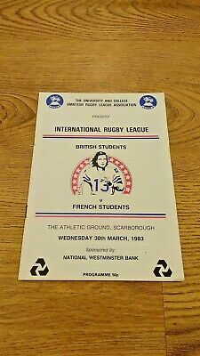 British Students v French Students 1983 Rugby League Programme