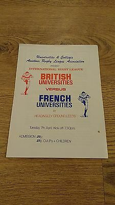 British Universities v French Universities 1981 Rugby League Programme