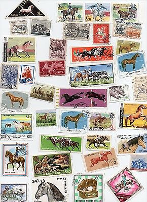 HORSES on Stamps 40 All Different and Off Paper