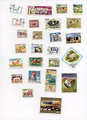 FARM ANIMALS  on Stamps 25 All Different and Off Paper