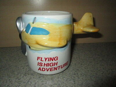 Flying is High Adventure Pottery 3D Prop Plane Coffee Mug Tail Handle MSR Import
