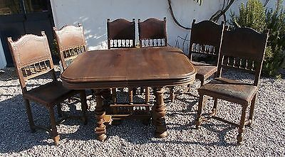 table & 6 chairs, antique French dining table + 6 chairs,