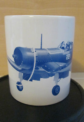 Military Island Hopper WWII Corsair Fighter Plane White Collectible Coffee Mug