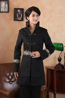 Black Lady's Cotton Embroider Flower lengthen Jacket Dust coat M-4XL