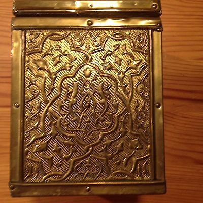 Antique Brass and Wooden Tea Caddie