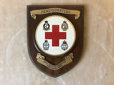 Vintage Plaque / Shield - HEADQUARTERS ARMY MEDICAL SERVICES. TERRITORIAL ARMY
