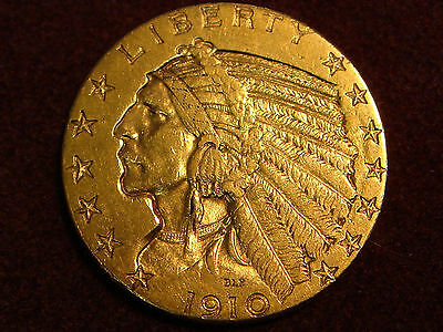 1910 Indian Head $5 Five Dollars Gold Half Eagle AU