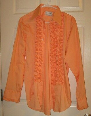 Vintage Disco Era Men's Orange Sorbet Ruffle Shirt Lion of Troy USA M