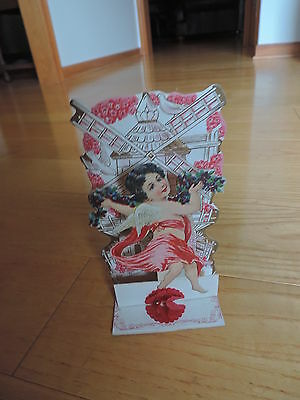Vtg Valentine's Day Greeting Card Honeycomb 3-D Stand-Up Cupid (pc200)