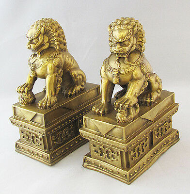 Pair Feng Shui Fierce Chinese Brass Fu Foo Dogs Lion Protector Guardians