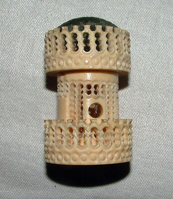 Antique Sewing Pin Cushion & Thimble Holder,Carved Vegetable Ivory Castle,Ornate