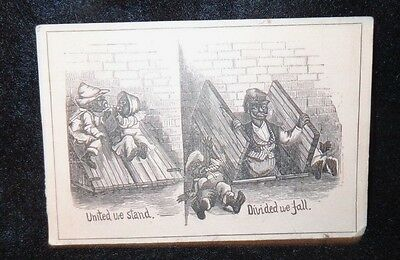 Black Americana Victorian Trade Card   United We Stand/Divided We Fall