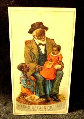 Black Americana Victorian Trade Card Ayer's Cathartic Pills Country Doctor 1883