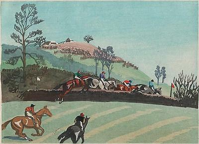HORSE RACING AT CROWLE WORCESTERSHIRE Signed Linocut MARY CARSLAKE 1934