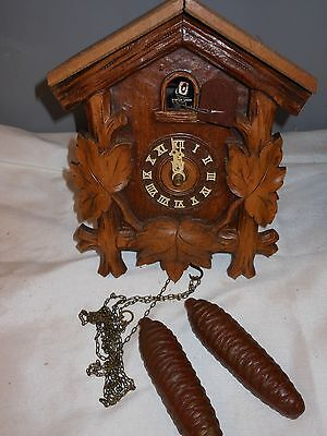 Vtg Germany Carved Wood Cuckoo Clock Chain Weights Parts Repair Restoration