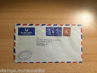 Bahrain 1956, mix franking KGVI w QEII on Cover to Germany VF