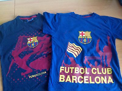 2 Official Futbol Club Barcelona Blue Football T-Shirts Age 8 Years