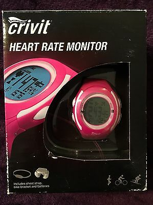 BNIB Crivit Bright Pink Heart Rate Monitor Wrist Watch With Chest Strap