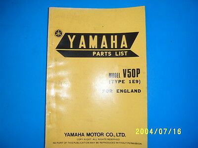 Yamaha Genuine  V50P Type 1E9  Parts List Book Manual  Unused-Mint