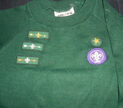 "Vintage Cub Scout Jumper with Bronze, Silver and Gold Arrow Badges,  30"" Chest"