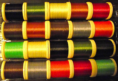 FLY TYING THREAD. 20 - 100yd SPOOLS MIXED Size 10/0. Many favourable comments.