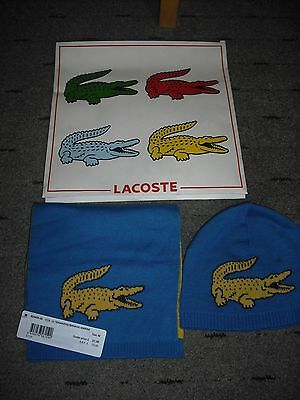 Boys Lacoste Hat And Scarf Aged 5-7 Yrs Mid Blue