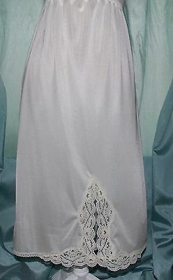 "Romantica Cream Vintage 80's Half Slip Soft Silky Lace & 10"" Kick Slit 14-16 UK"