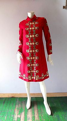 Sabina of India Ruby Red Silk Embroidered Vintage Sheath Dress sz 2 4 6 1960s