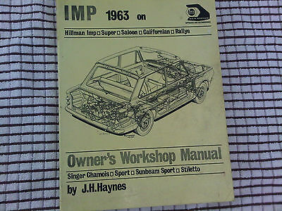 Hillman Imp Singer Chamois Sunbeam Stiletto Haynes Owners Workshop Manual
