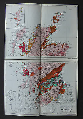 Geological Map of Scotland in two sections c1914 Edward Stanford John Emslie