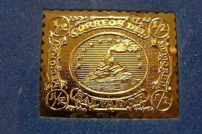 Gold Plated Sterling Silver El Salvador 1/2 Real Stamp Reproduction