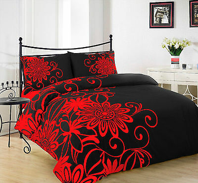 Duvet/Quilt Cover Bedding Set With Pillow Case HELEN BLACK RED Size King