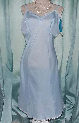 Vintage Proper Pride Powder Blue Cotton & Lace Full Slip Petticoat Size 18 UK
