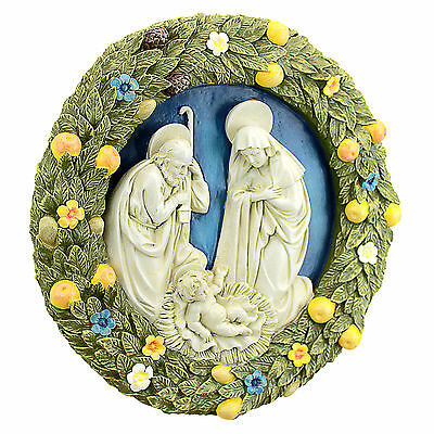 """12"""" Iconic Mary, Joseph And Jesus Raised Sculptural Wall Decor"""
