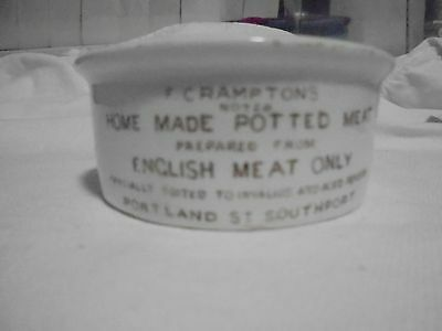Vintage Victorian red/brown print F. Crampton Potted Meat Pot.