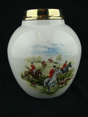 Vintage Hunting Scene Ceramic Oil Lamp Base /font 3.9Cm Screw Thread Brass Mount