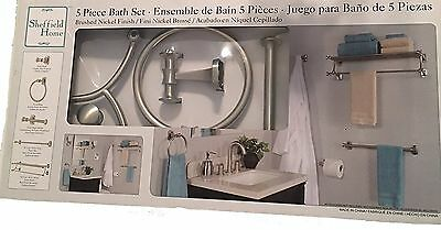 NEW Sheffield Home 5 Piece Bath Set Bathroom  Lavatory - Brushed Nickle Finish