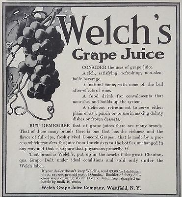 Antique 1909 Ad(F10)~Welch's Grape Juice Co. Westfield, Ny.
