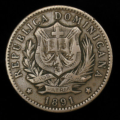 1891-A Dominican Republic 10 Centesimos high grade KM# 9 300,000 minted