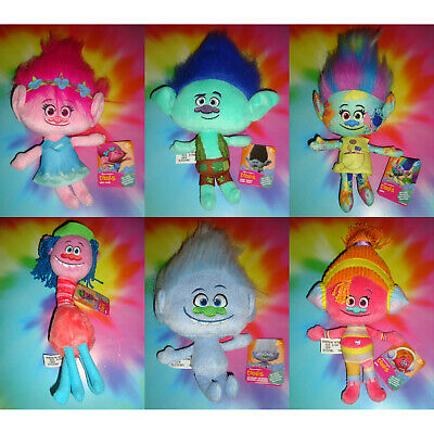 ALL 6 TROLLS Hug N Plush Dolls - Poppy Branch Harper Cooper Guy Diamond DJ Suki